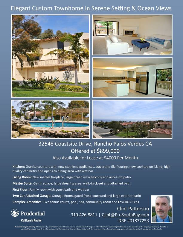 Palos Verdes Town House - Price Reduced to $899000
