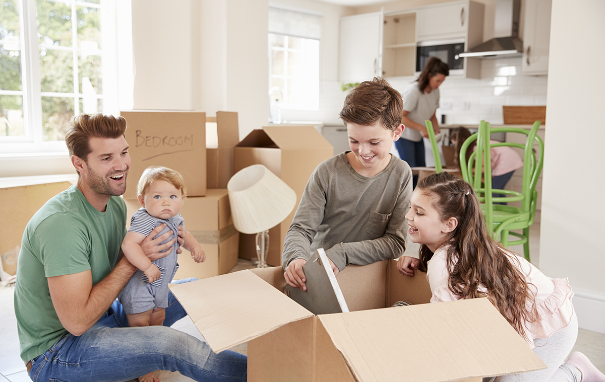 Millennial family moving into new home